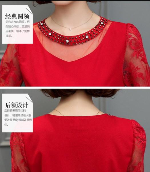 レディースオープンワークレースシャツパッチワークシフォンブラウスプラスサイズの女性長袖シャツスリムダイヤモンド