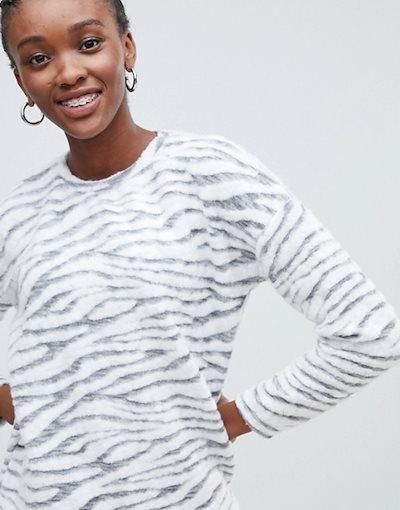 ニュールック レディース ニット・セーター アウター New Look zebra print sweater in gray pattern