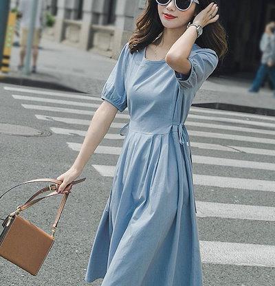 韓国 ファッション レディース ワンピース シンプル シャツワンピース サイドリボン 袖コンシャス バックボタン 春夏 H-119