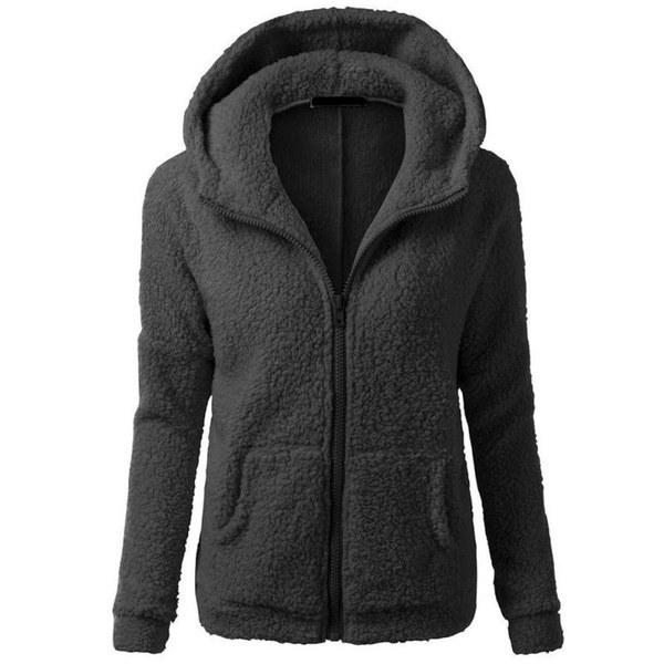 女性の厚いフリースの冬のウォームコートフード付きパーカーオーバーコートジャケット