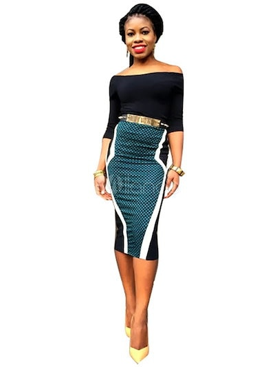 Off-The-Shoulder Bodycon Dress Multicolor Polyester Dress