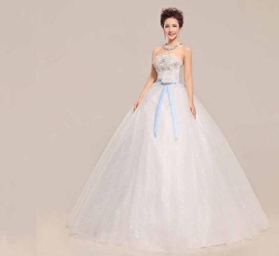 ベアトップ 花嫁礼服 ウェディングドレス リボンサッシュベルト 水晶 簡約優雅 ハイウエスト XCMS51