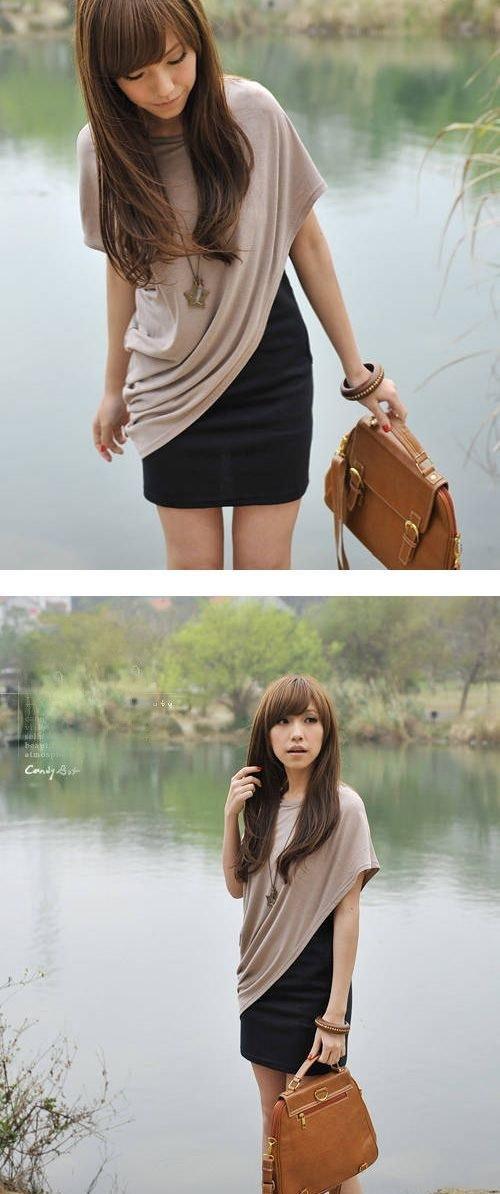 Tシャツワンピース ワンピース スウェット ドレス カットソー ブラック 重ね着 ゆったり 02P13Dec15