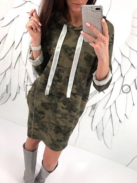 女性のファッションMiltaryスタイルのフード付き長袖セーターのドレス迷彩長いプルオーバーのスウェットシャツ