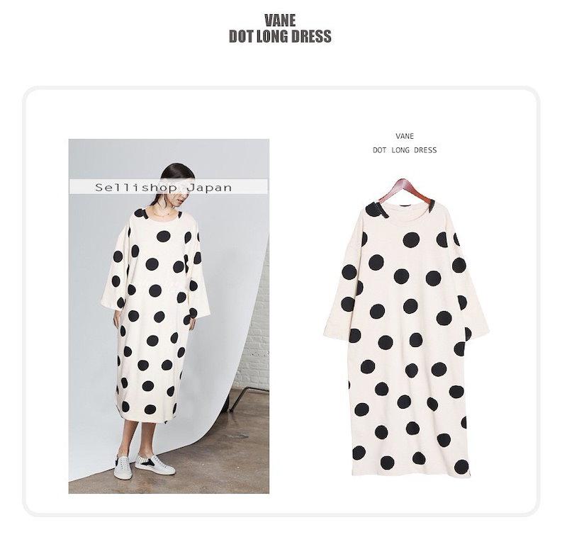 『韓国製』SELLISHOP Dot long ワンピース「大きいサイズ 大人 韓国 ファッション・結婚式・フォマール 黒 フレア 30代 40代 50代 スレンダー・Aライン,シャツ・上品・ロング