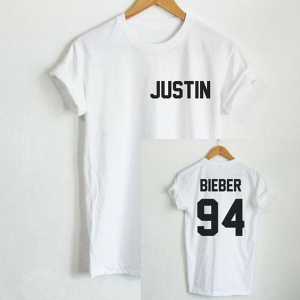 ジャスティンビーバー94バックプリントレター女性Tシャツカジュアルシャツファニーレディーホワイトブラックグレーホワイト