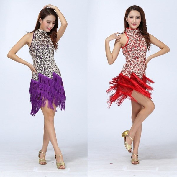 新しいラテンサルサタンゴチャチャボールルームコンクールスパンコールタッセルダンスドレス