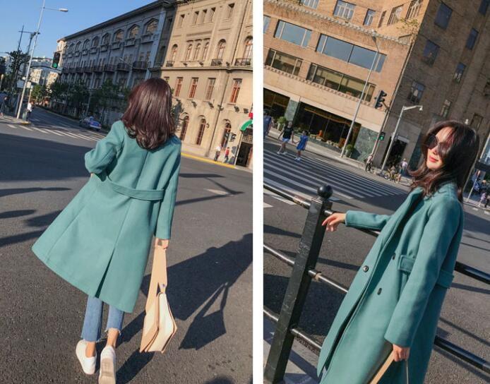 [55555SHOP]韓国ファッション レディース チェスターコート 防寒 ロングコート 暖か トレンチコート Aライン 秋冬 アウター