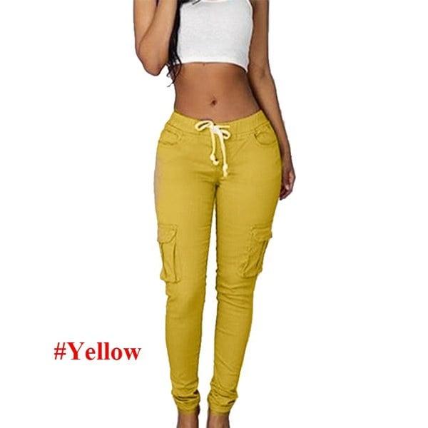 WantLH女性スポーツパンツウエスト巾着ファッションポケットパンツ