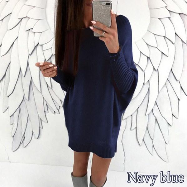 8色の女性の緩いVネックロングスリーブ斜めセータードレス
