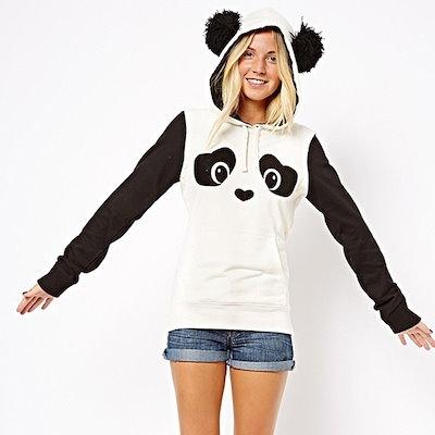 フード付きファッション春秋冬女性ヒッピーカラーブロックかわいいパンダのプリントフリースパーカー女性トレーナー(米国サイズ、1TA)