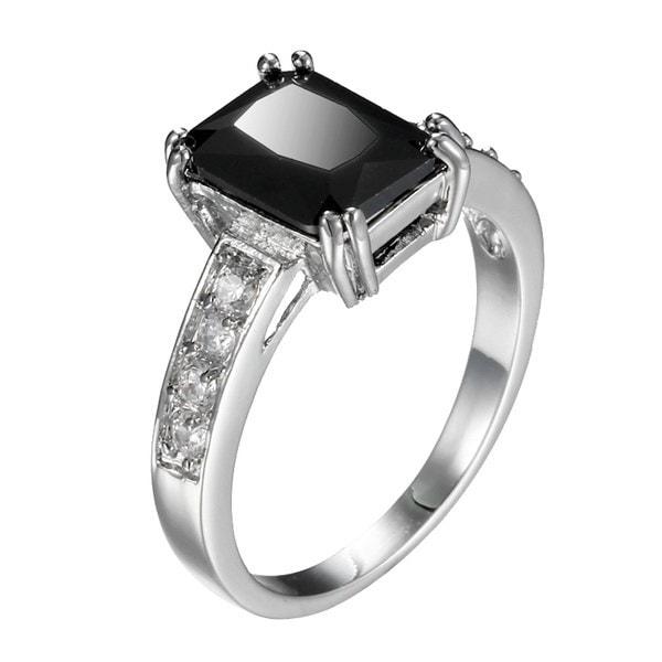 女性シックな925スターリングシルバーブラッククリスタル結婚指輪(サイズ6,7,8,9,10)