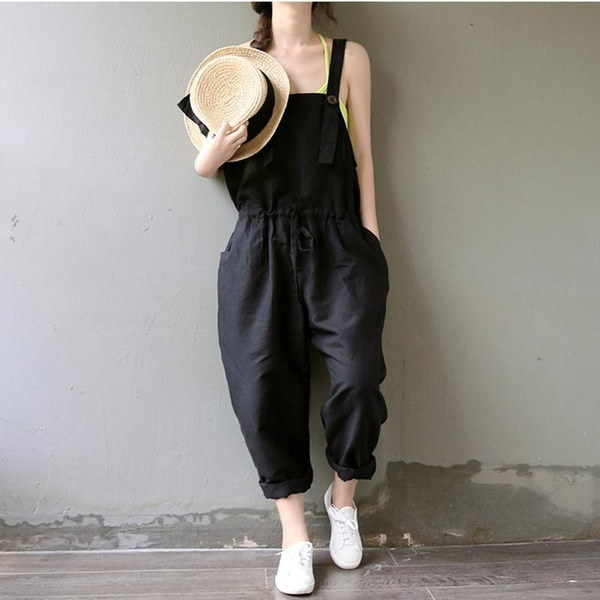 2017 Vintage Women Casual Loose Navy Cotton Jumpsuit Strap Dungaree Trousers Overalls