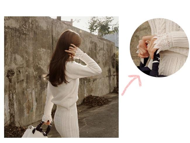 [2点SET]ニットセットアップ★ロングスカート ニットツーピースセット 暖かい女性ニットツーピース♥トップ+スカートSET♥ストレッチある高品質ルーズフィットニット あったか極暖♪裏起毛ワンピース
