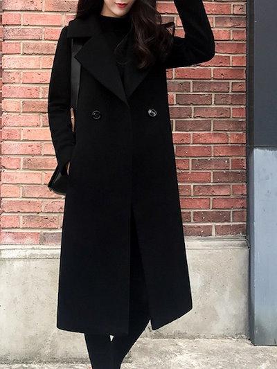折り襟 上品らしい ロング丈 ダブルブレスト 落ち着いた感じ コート