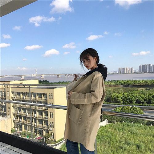 秋冬新作ヤングスタイル配色フード付ロングアウター