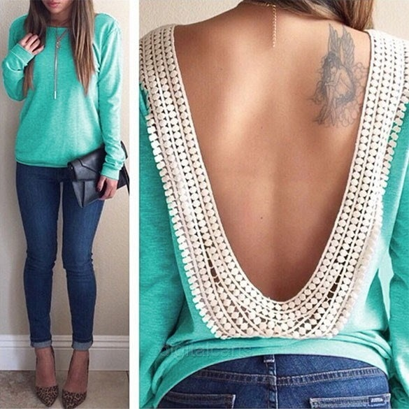 Lady Sexy Women s Long Sleeve O-neck Backless Lace Trim Blouse Shirt Tops