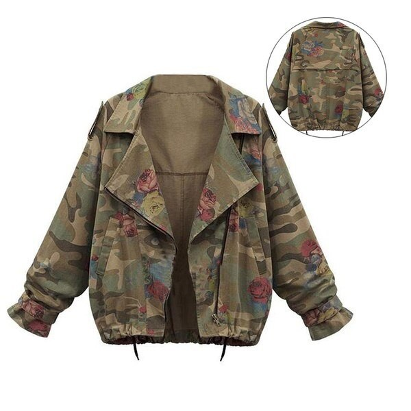 Woman Camouflage Rose Lapel Trench Overcoat Outwear Cardigan Fashion Jacket Coat