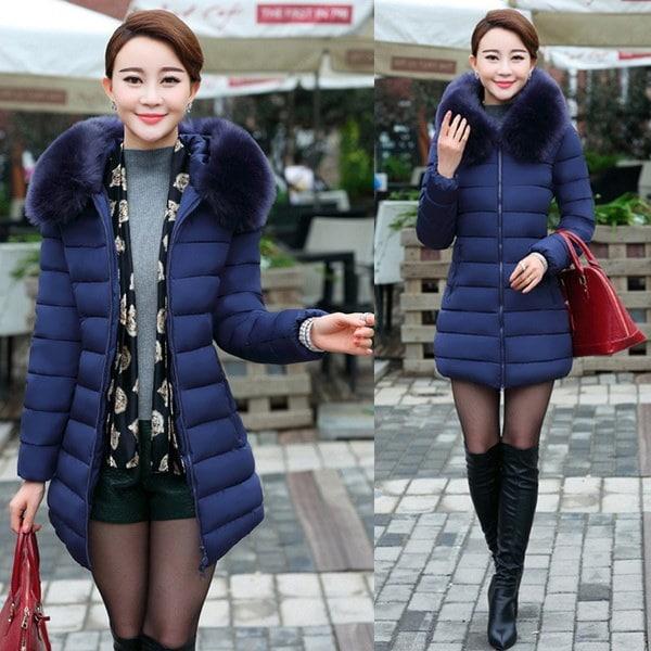 女性のダウンコットンパーカー冬の毛皮の襟フード付きジップアップパットコートジャケット新