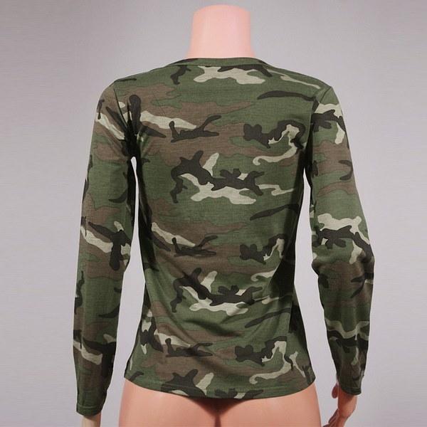 新しい女性チョーカーVネックカモフラージュプリントプランジレースアップブラウスカジュアルトップスTシャツ