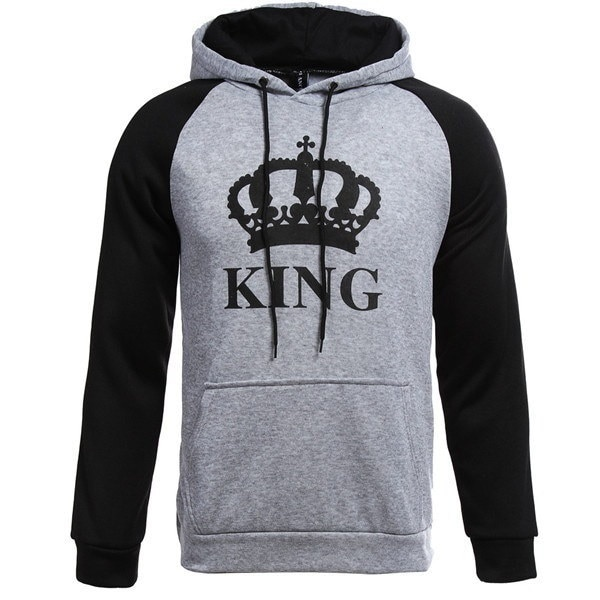 New Fashion Plus Size Women Men Couple Clothes Long Sleeve Hoodie Coat Gray King and Queen Print Lov