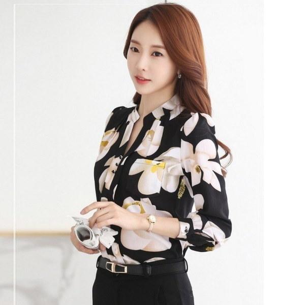 シフォンブラウススリムシフォンブラウスオフィスワークウェアシャツ女性トップスVネックブラウスプラスサイズ