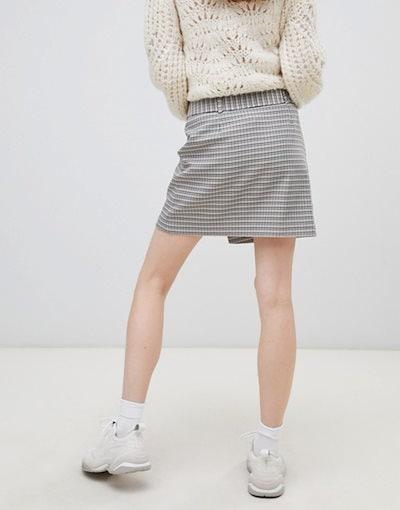 エイソス レディース スカート ボトムス ASOS DESIGN mini skirt with self belt in heritage check