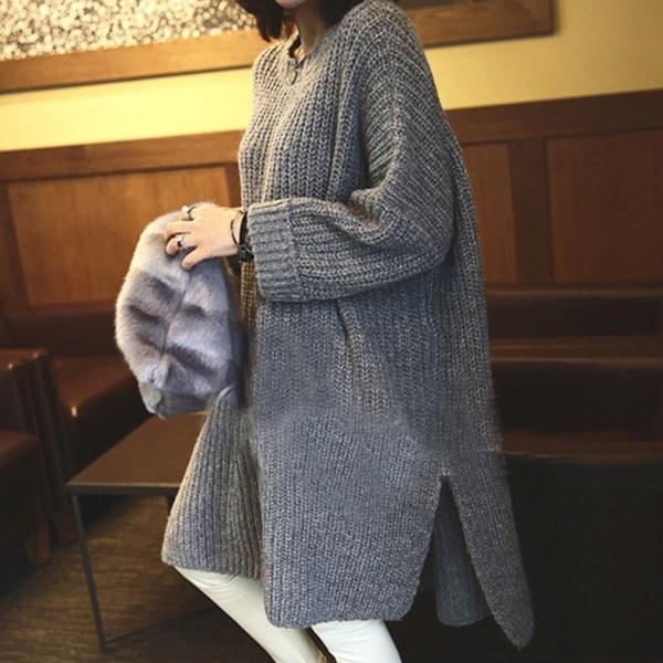妊娠中の女性冬暖かいルーズオーバーサイズマタニティドレスセータードレスニット