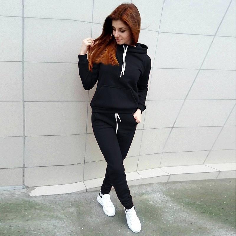 女性のファッショントラックスーツロングスリーブフード付きスエットシャツ+ロングパンツ(2ピースセットスポーツウェア)