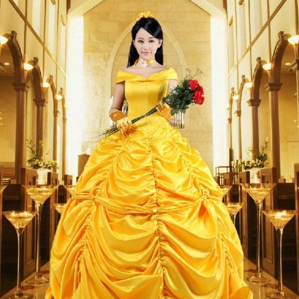 2017美人と獣の王女ベルの衣装ファンタジア女性のコスプレ
