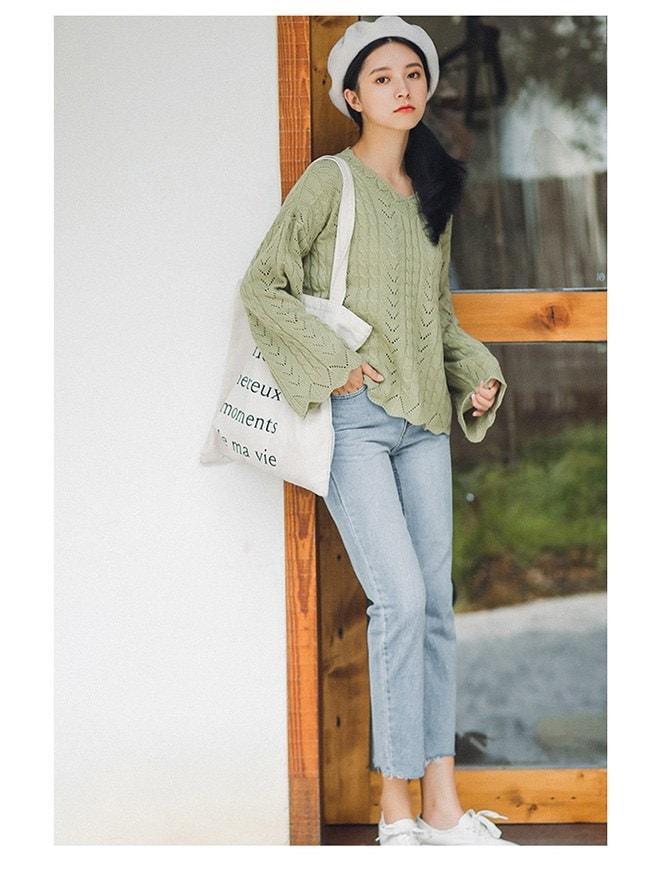 レディースファッション 女性 トップス プルオーバー ニット素材 セーター Vネック インナー カットソー スカラップスリーブ 透かし編み グリーン スイート 可愛い ガーリー ゆったり カジュアル