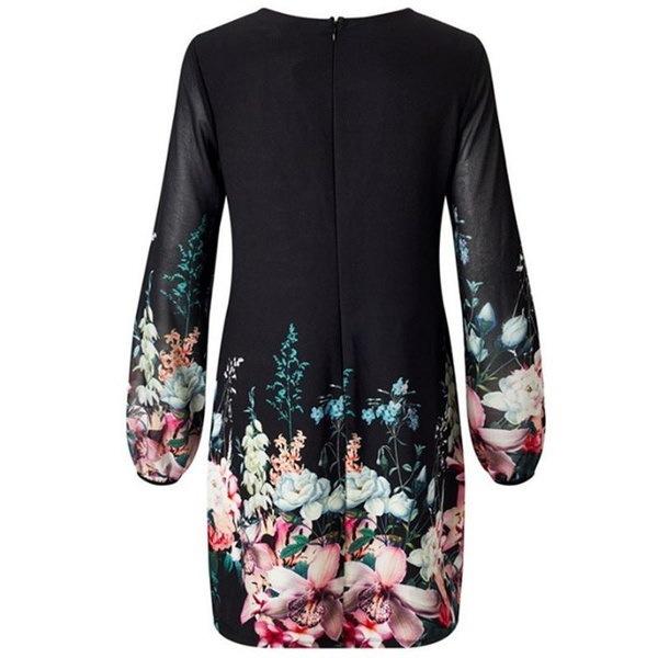 女性の花のシフォンドレスロングスリーブイブニングカクテルパーティエレガントなスカート