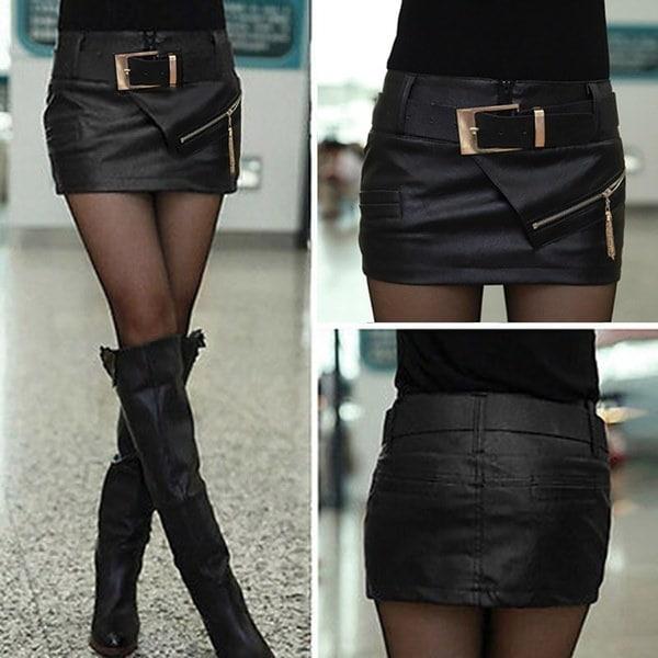 最新ファッション女性レディーガールブラックフェイクレザーセクシーなミニショートスカートショーツ&ベルト
