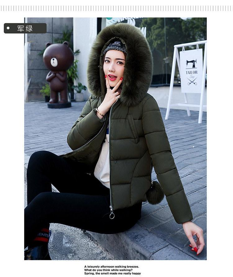 新しい女性のショートジャケット毛皮の襟ダウン大韓国語バージョン女性のファッション綿パッド入りジャケット女性
