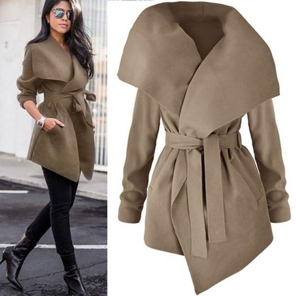 Women Lapel Bandage Jacket Coat Winter Warm Windbreaker Outwear Parka Overcoat