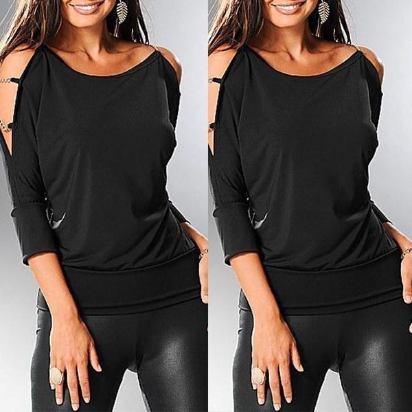 ファッション女性コールドショルダーTシャツ