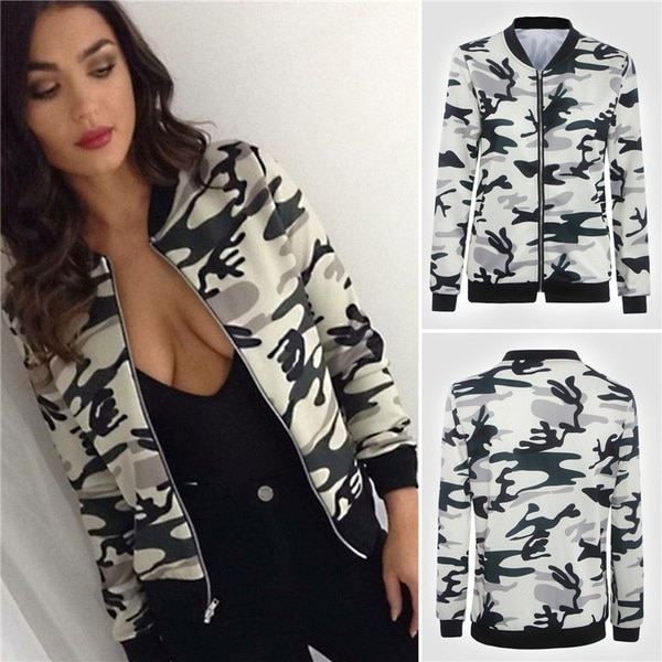 大判の新しいファッション女性のカモBomberジャケットスタンドカラージッパーカモフラージュコート長袖Outwea