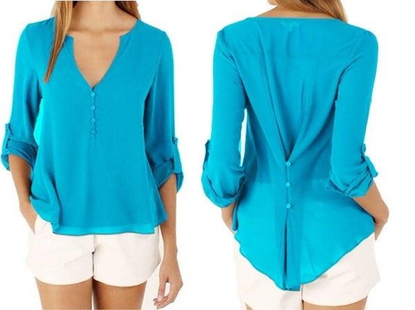 女性ファッションロングネックVネックカジュアルブラウスレディース新しいシフォンプラスサイズルーズシャツ