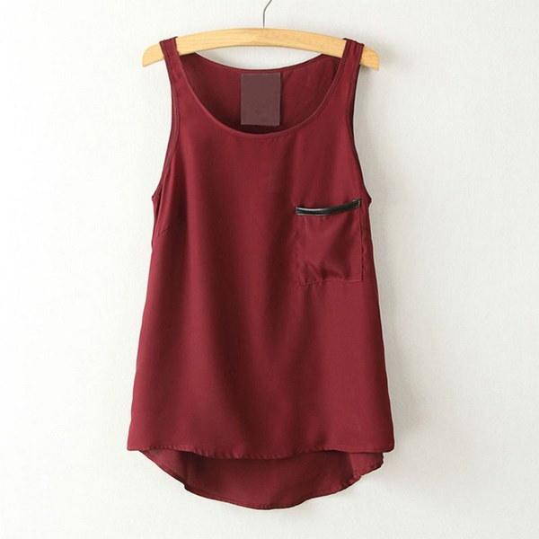 2014ファッションシンプルなスタイルの女性の夏のカジュアルシフォンベストタンクトップノースリーブシャツポケットブラウス