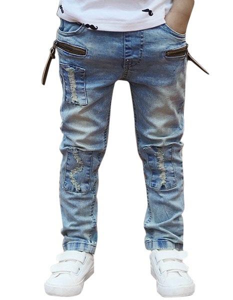 ファッションティド味Korrean子供キッズボーイカジュアルデニムロングストレートジーンズパンツズボンEN24H
