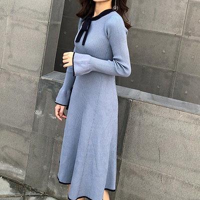 リボンが可愛いニットワンピース☆1067