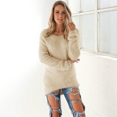 ファッション新しい女性のクリスマススリーブラウンドネックプルオーバーニットウェアジャンパーカーディガンロングコートジャケットカス