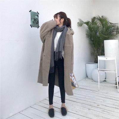冬/新しいデザイン/韓国風/子羊ウール/アウターウェア/女/ルース/手厚い/太もも/スエード/帽子付き/中長デザイン/コットンコート