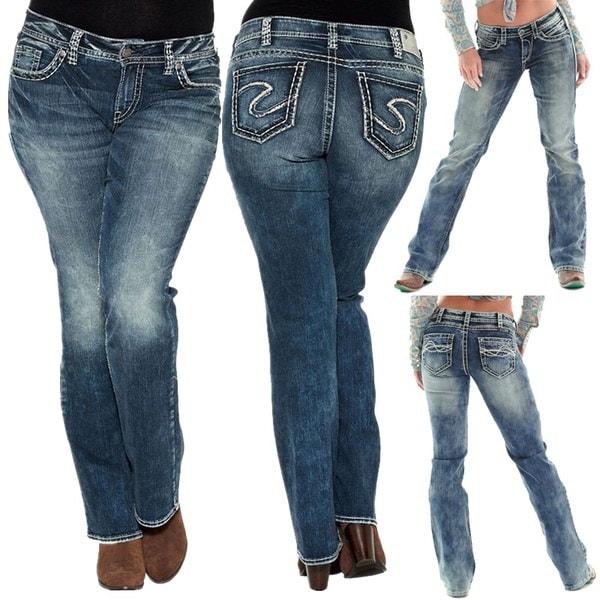 女性のプラスサイズスッキーライズスリムブーツカットジーン耐性ストレッチミディアムウォッシュスリムブーツカットジーンズ