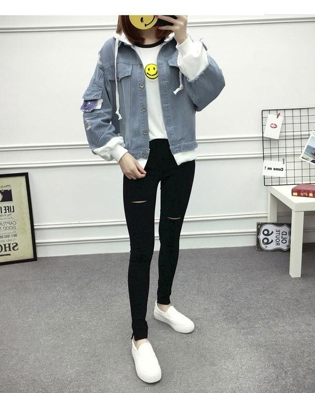 アウター コート オーバー 女性 レディース デニム ジャケット 上着 ジージャン Gジャン 大きいサイズ オーバーサイズ 秋服 お洒落  フェイクレイヤード