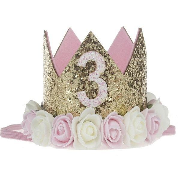 人工繊細なミニフェルトキラキラクラウン誕生日パーティーの花のヘッドバンドDIYの衣類ハイ