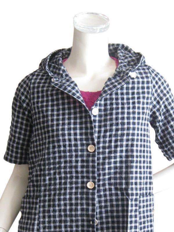 ゆったりサイズ 綿混フード付きチェック柄半袖シャツ/スピンドルパーカー M 2色(ブラック/ホワイト)(紫外線 UV 日除け 防寒 羽織 アウター)