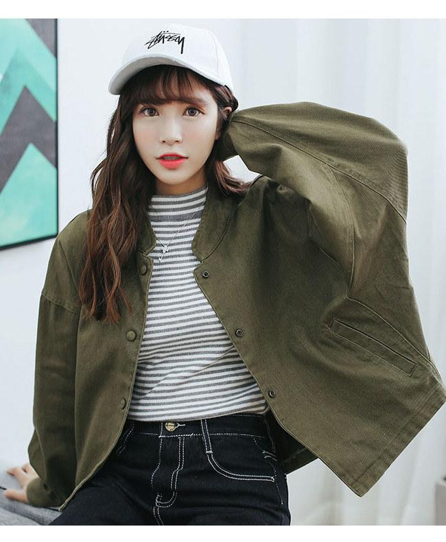 春秋 レディースジャケット  デニムジャケットコウモリ袖 BF風 立ち襟 アウターコート 韓国ファッション レディースファション  デニムジャケット