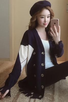 Rinaシリーズ/秋/新しいデザイン/女性服/韓国風/Vネック/長袖/複数色/T-ストラップ/ルース/ニット/アウターウェア
