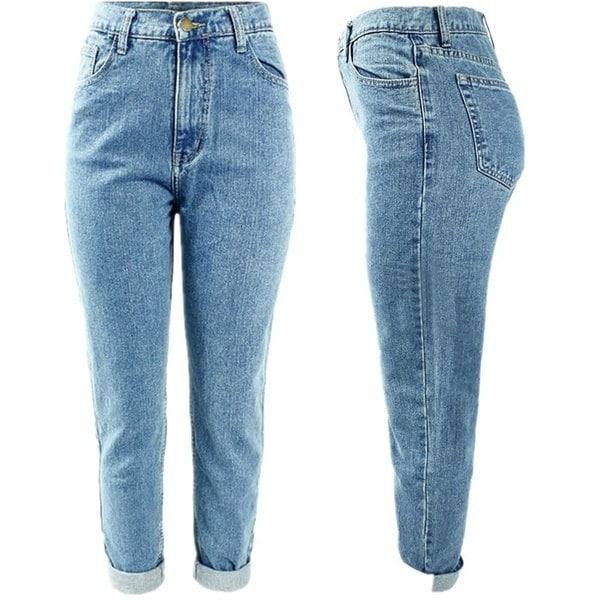 Light blue real boyfriend jeans make delicate women jeans